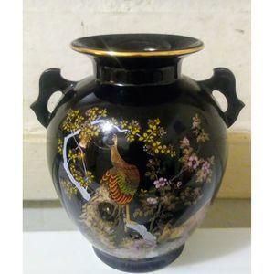 Porcelain Vase Peacocks Black Gold  ASAHI Japan